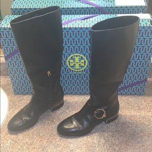 Tory Burch Sofia Riding Boots Black Leather w Gold